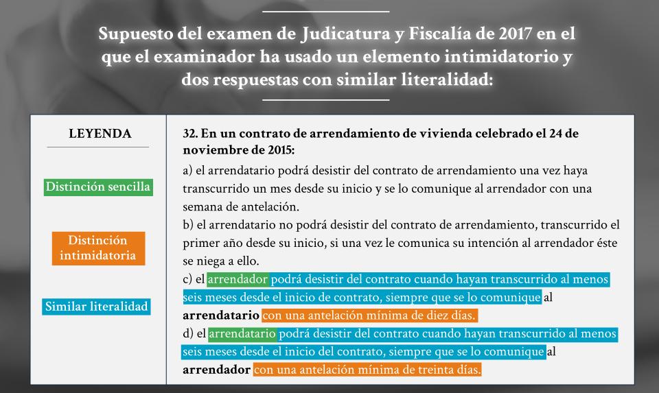 Imagen recogiendo una pregunta del examen test de Jueces y Fiscales de 2017, en el que se utilizaban distinciones intimidatorias para distraer de aspectos más sencillos