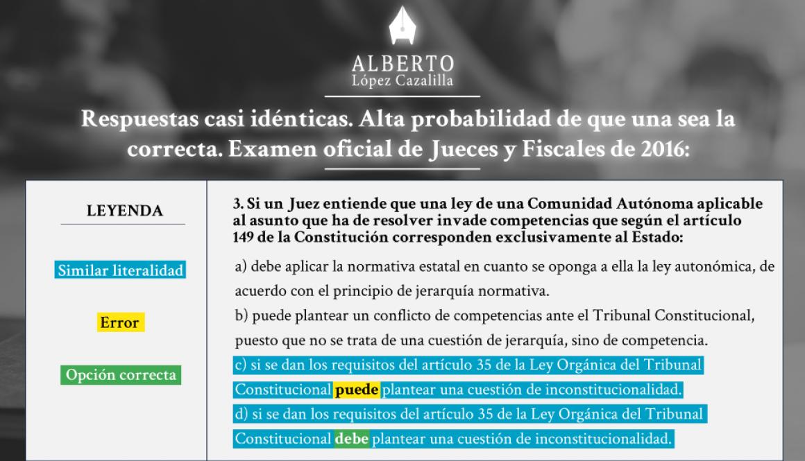 Pregunta de test de las oposiciones a juez y fiscal